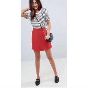 ASOS Red Tailored A-Line Mini Skirt